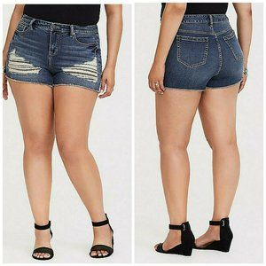 Torrid Shorts Denim Skinny Short Short Distressed